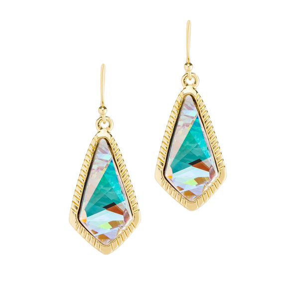 Crystal AB Sloane Statement Earrings - Gold
