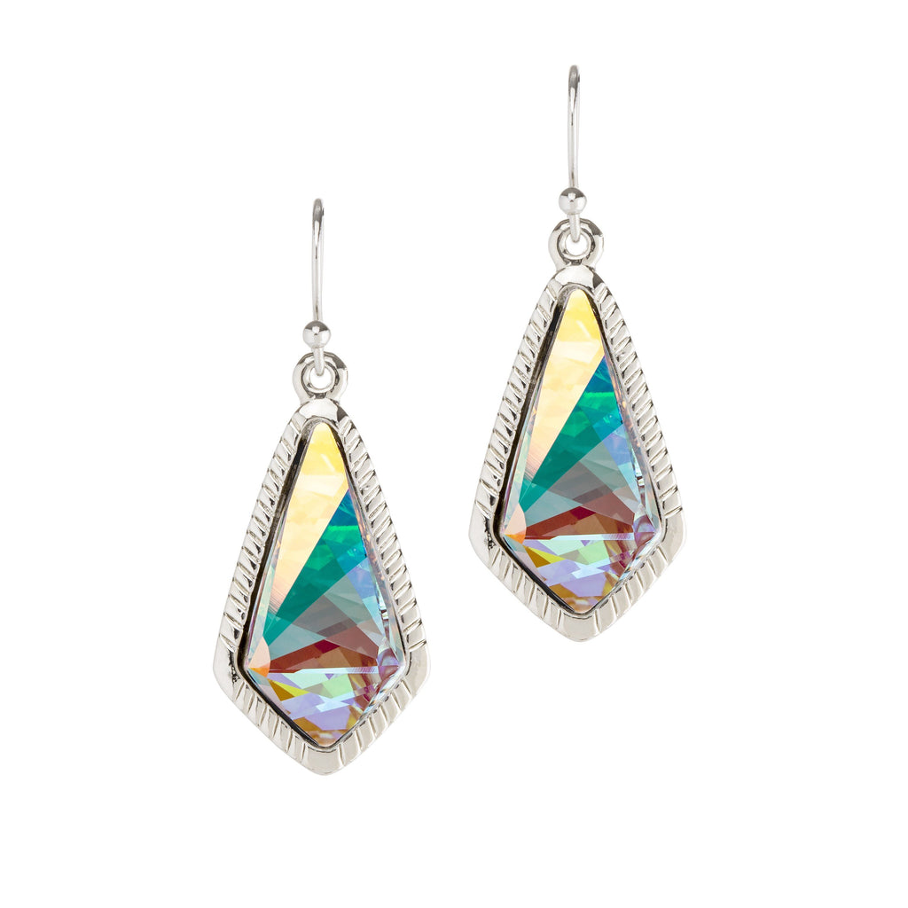 Sloane Statement Earrings In Crystal AB-Earrings-finish:Silver Plated-Luca + Danni