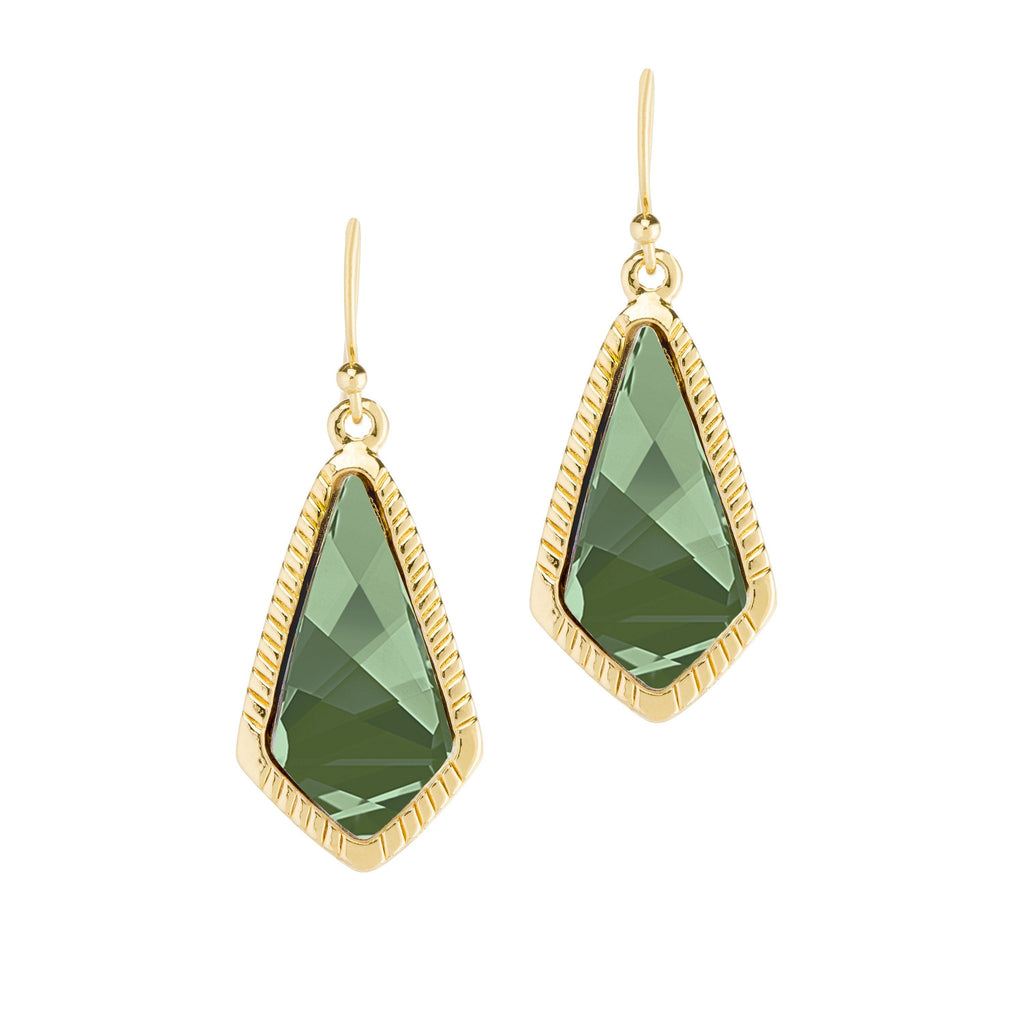 Sloane Statement Earrings In Emerald-Earrings-finish:18kt Gold Plated-Luca + Danni