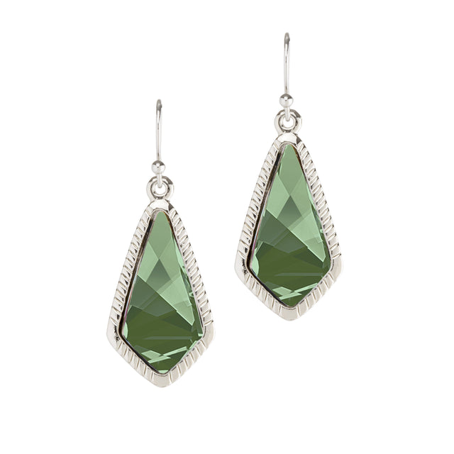 Sloane Statement Earrings In Emerald-Earrings-finish:Silver Plated-Luca + Danni