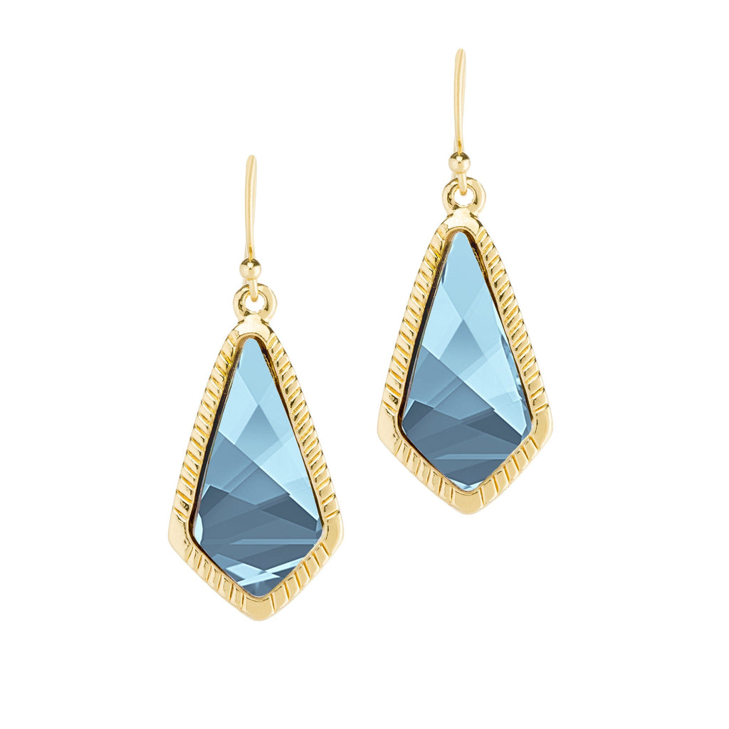 Sloane Statement Earrings in Aqua -18kt Gold Plated