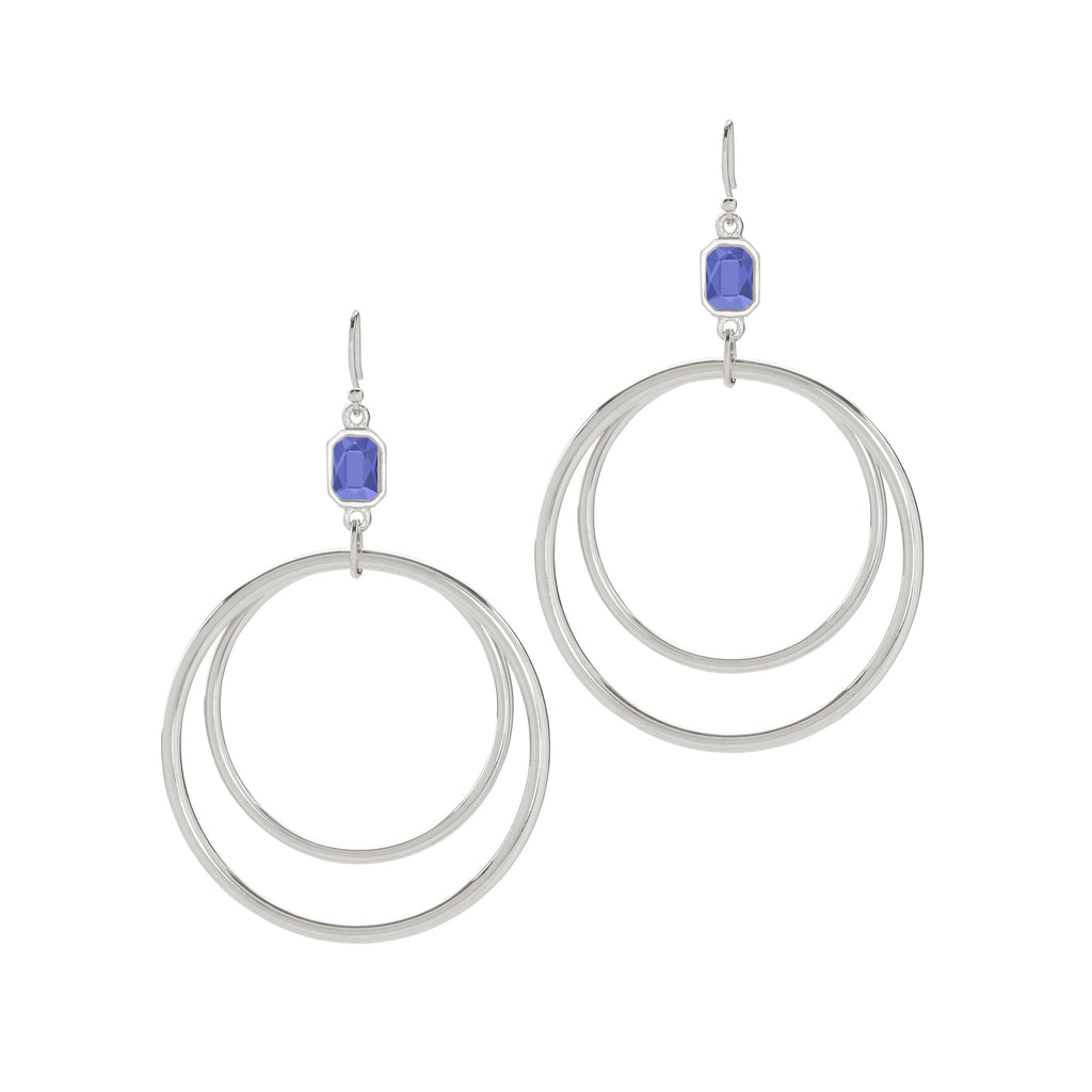 Dylan Hoop Earrings in Sapphire-Earrings-finish:Silver Plated-Luca + Danni