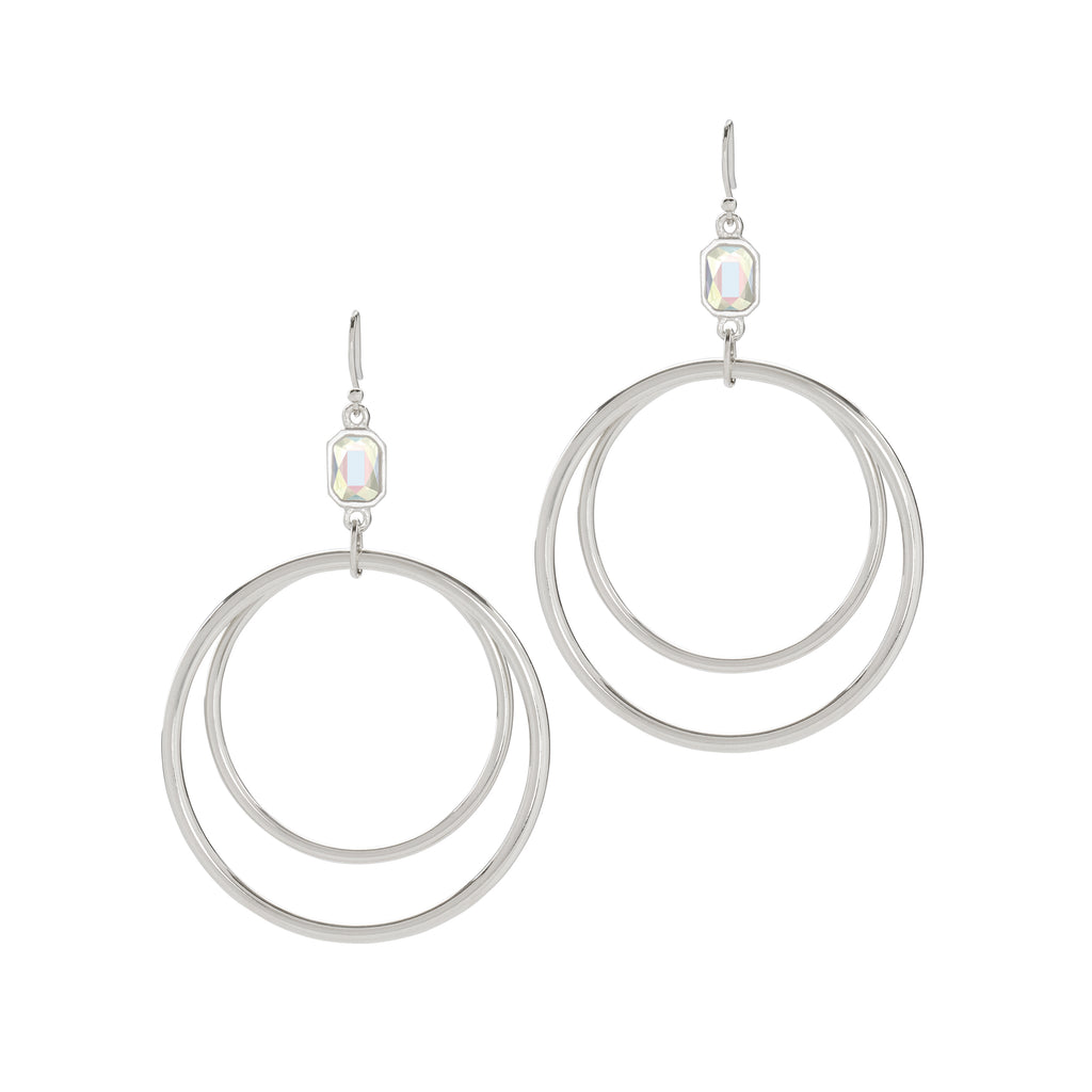 Dylan Hoop Earrings in Crystal AB-Earrings-finish:Silver Plated-Luca + Danni