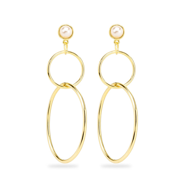 Skylar Hoop Earrings in Crystal White Pearl-Earrings-finish:18kt Gold Plated-Luca + Danni