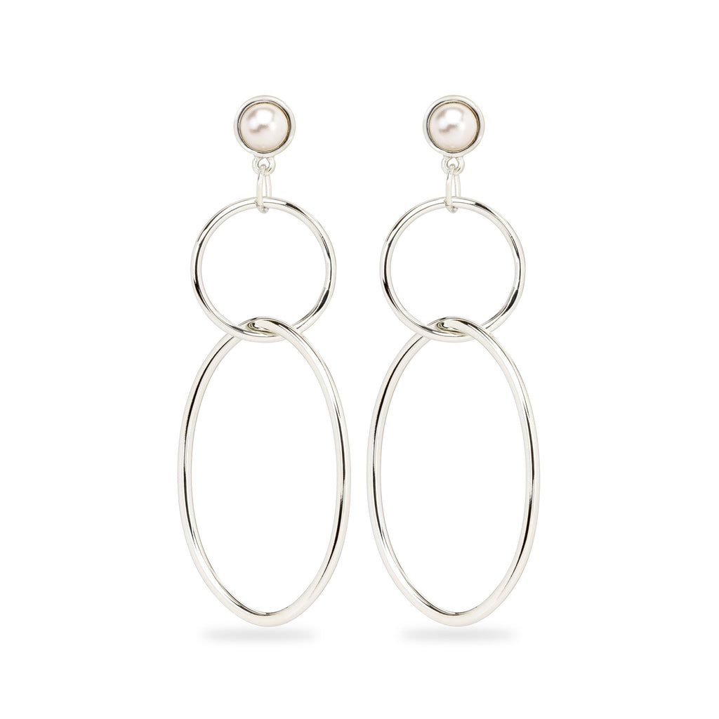 Skylar Hoop Earrings in Crystal White Pearl-Earrings-finish:Silver Plated-Luca + Danni