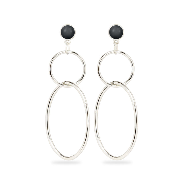 Skylar Hoop Earrings in Crystal Jet Pearl-Earrings-finish:Silver Plated-Luca + Danni