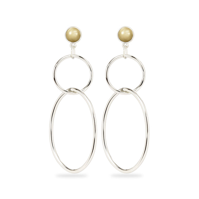 Skylar Hoop Earrings in Crystal Champagne Pearl-Earrings-finish:Silver Plated-Luca + Danni