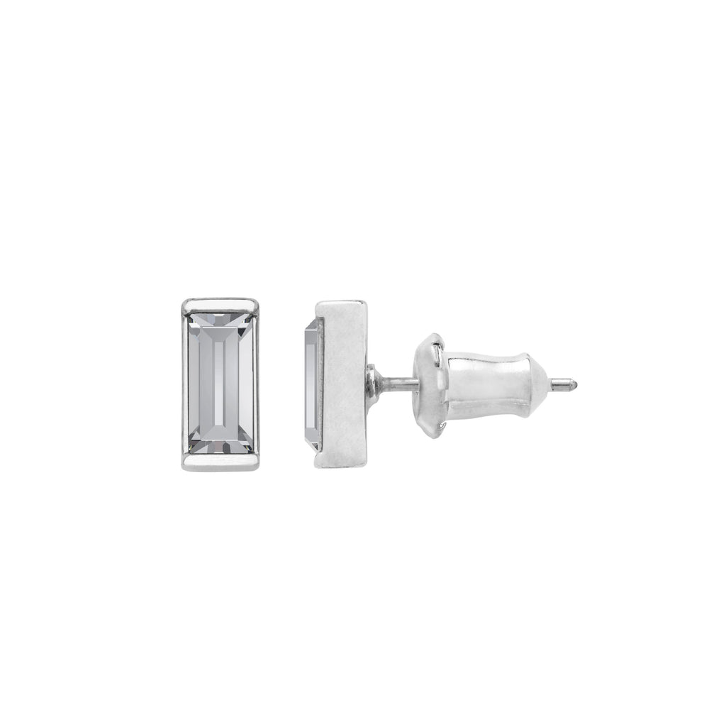 Mini Hudson Stud Earrings in Crystal finish:Silver Plated