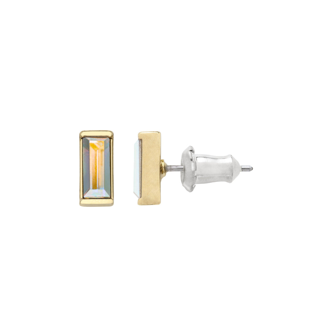 Mini Hudson Stud Earrings in Crystal Aurora Borealis finish:18k Gold Plated