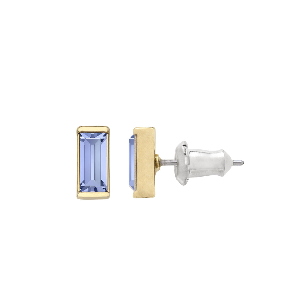 Mini Hudson Stud Earrings in Light Sapphire finish:18k Gold Plated