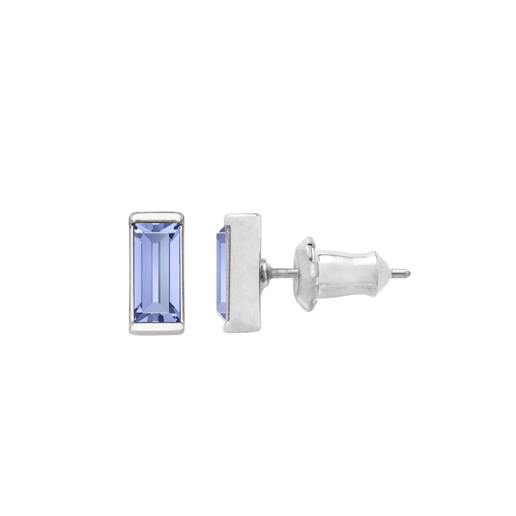Mini Hudson Stud Earrings in Light Sapphire finish:Silver Plated