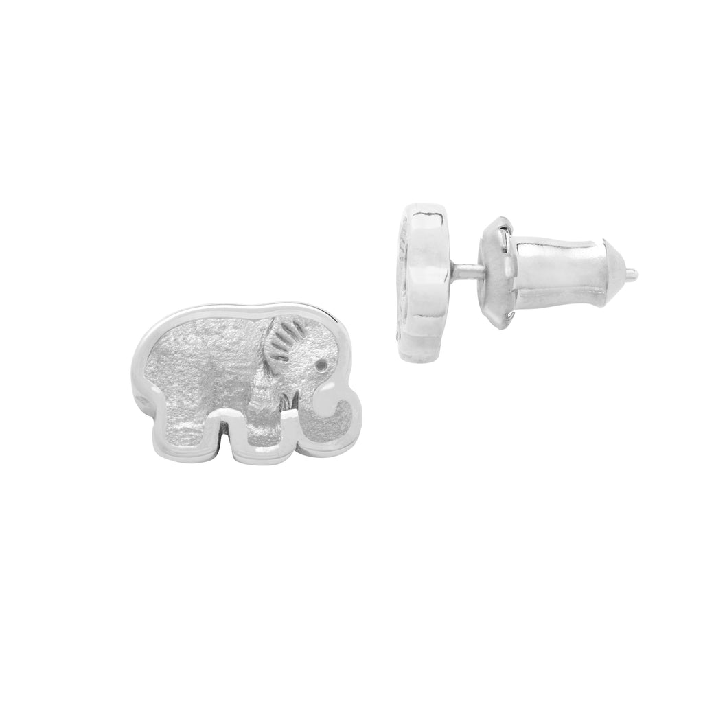 Elephant Stud Earrings finish:Silver Plated