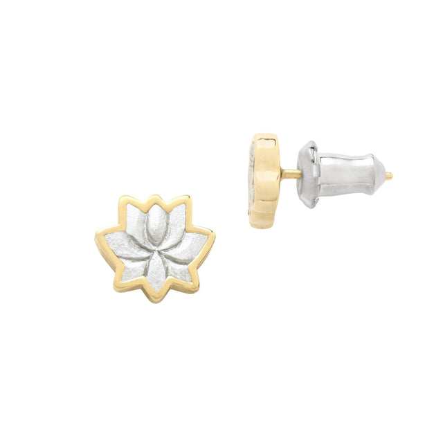 Lotus Flower Stud Earrings finish:18k Gold Plated