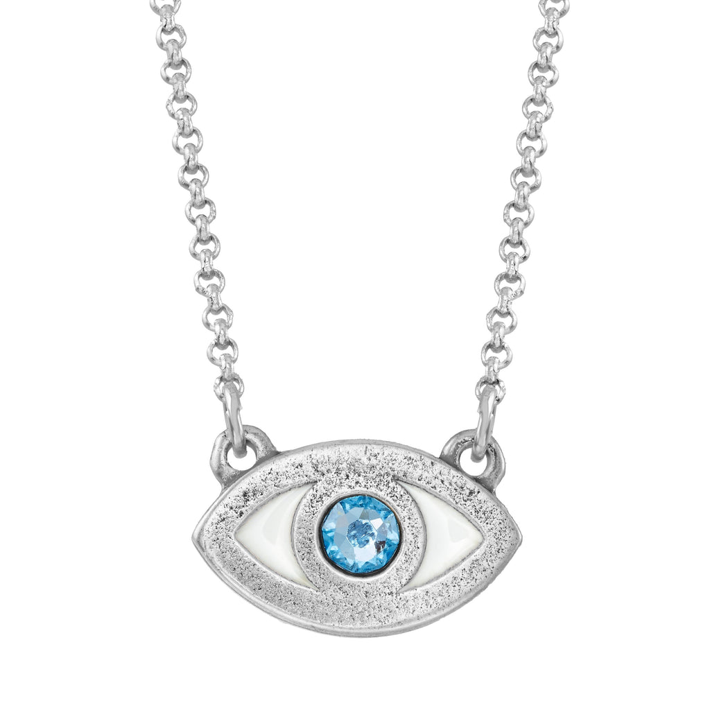 Evil Eye Necklace choose finish:Silver Plated