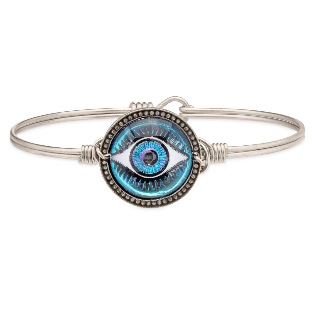 Eye Intaglio Bangle Bracelet-Bangle Bracelet-Regular-finish:Silver Tone-Luca + Danni