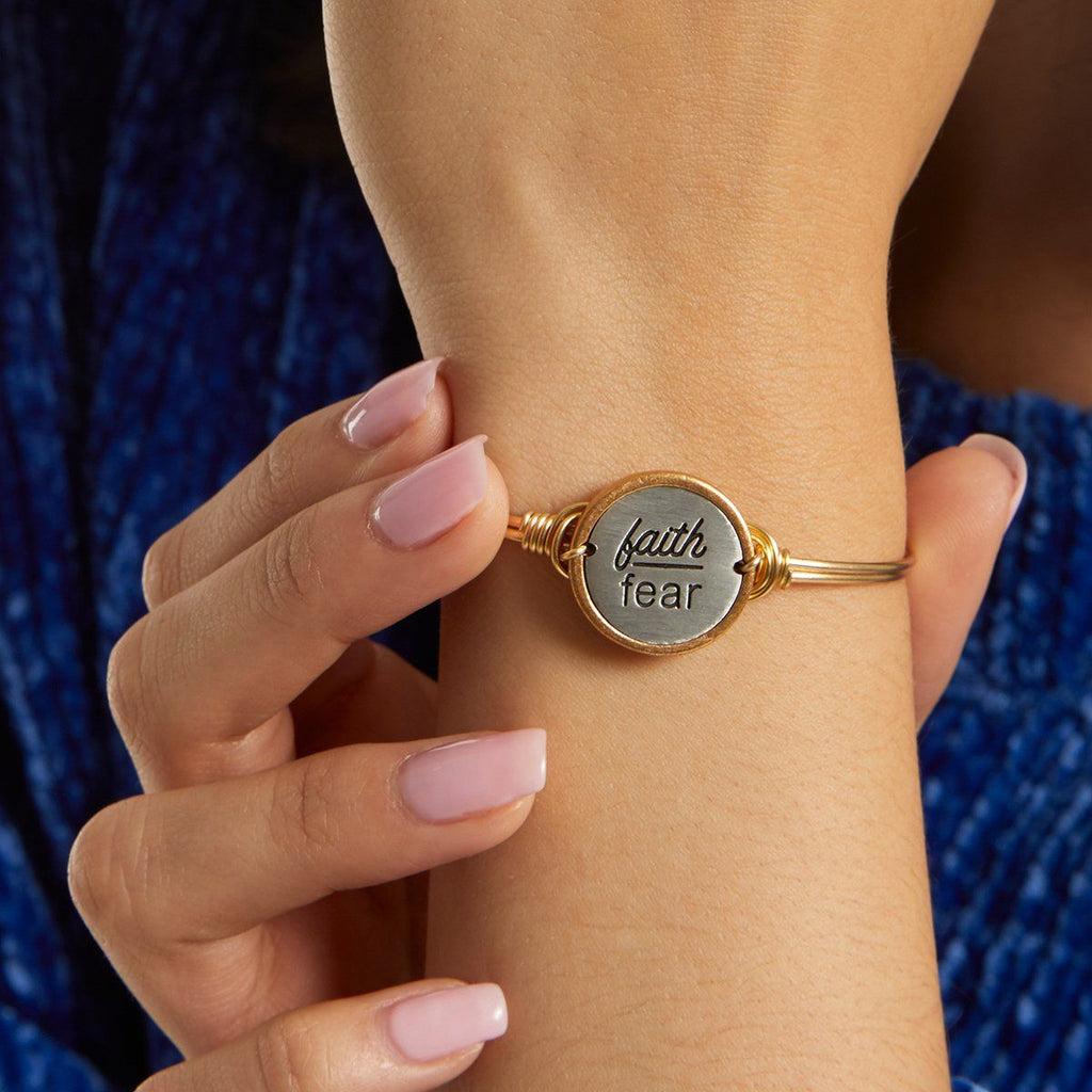 Faith Over Fear Bangle Bracelet choose finish: