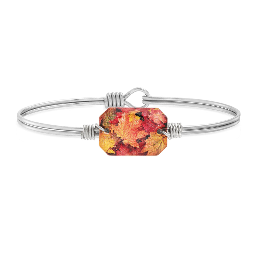 Fall Leaves Bangle Bracelet choose finish:Silver Tone
