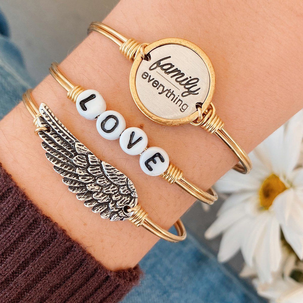 Family Over Everything Bangle Bracelet
