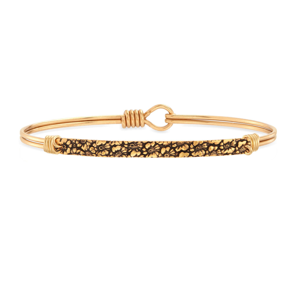Sidney Bangle Bracelet in Floral choose finish:Brass Tone