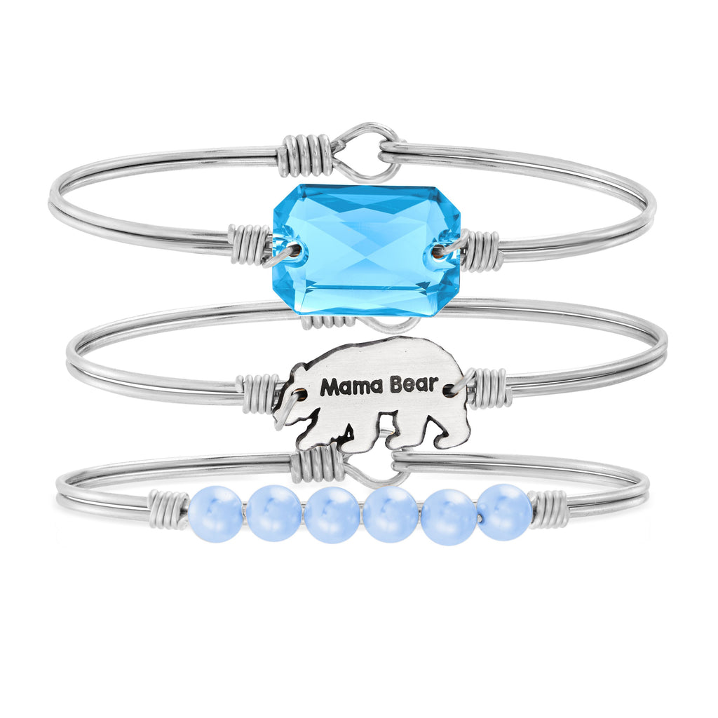 The Mama Bear Stack choose finish:Silver Tone choose crystal color:Aquamarine