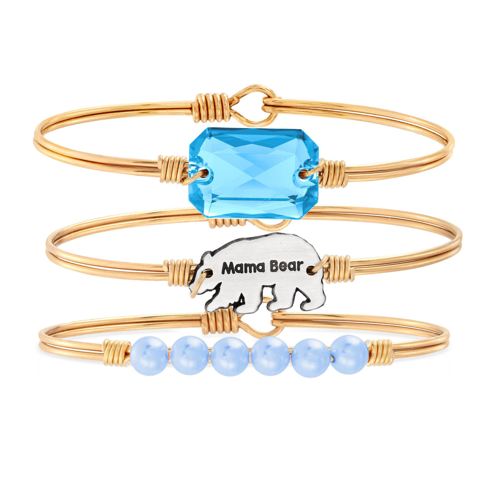 The Mama Bear Stack choose finish:Brass Tone choose crystal color:Aquamarine