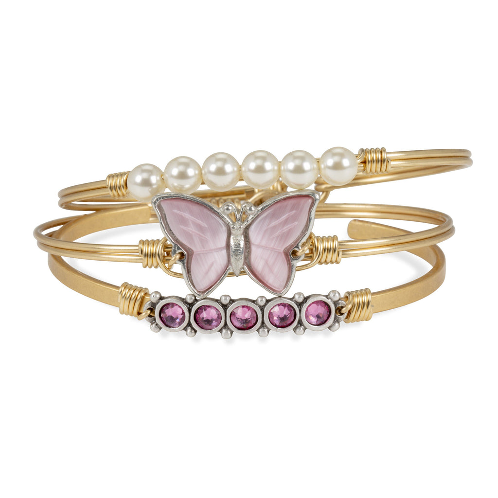 Breast Cancer Awareness Bangle in Hand-Painted Rose Quartz stack Finish:Brass Tone Make it a Stack:Breast Cancer Charity Stack