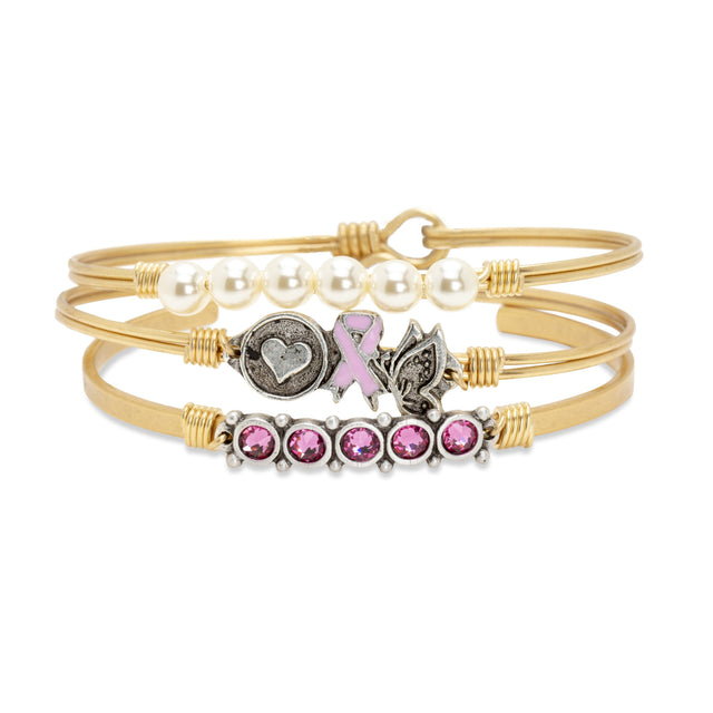 Love, Hope, Life Breast Cancer Awareness Stack finish:Brass Tone