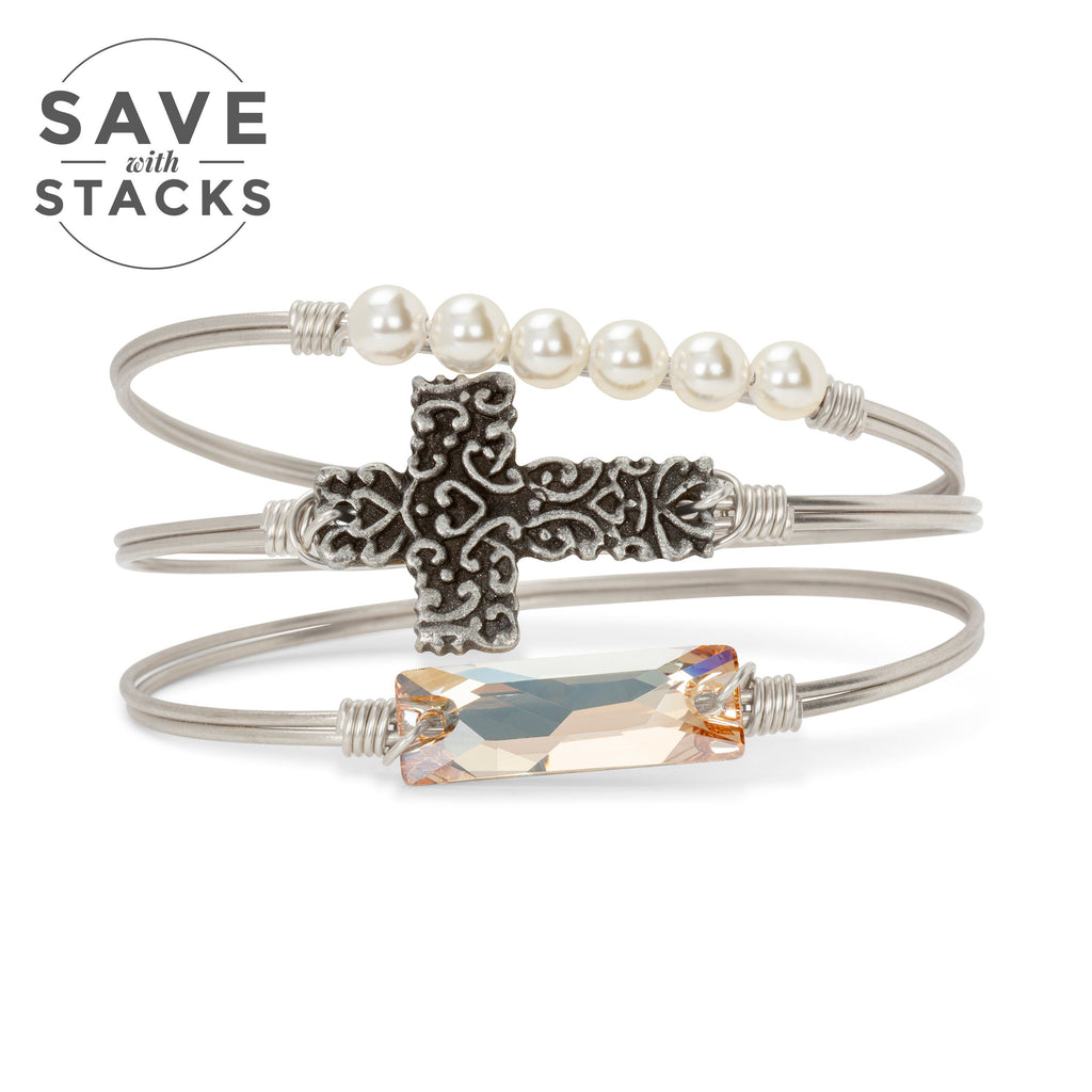 Ornate Cross Stack finish:Silver Tone