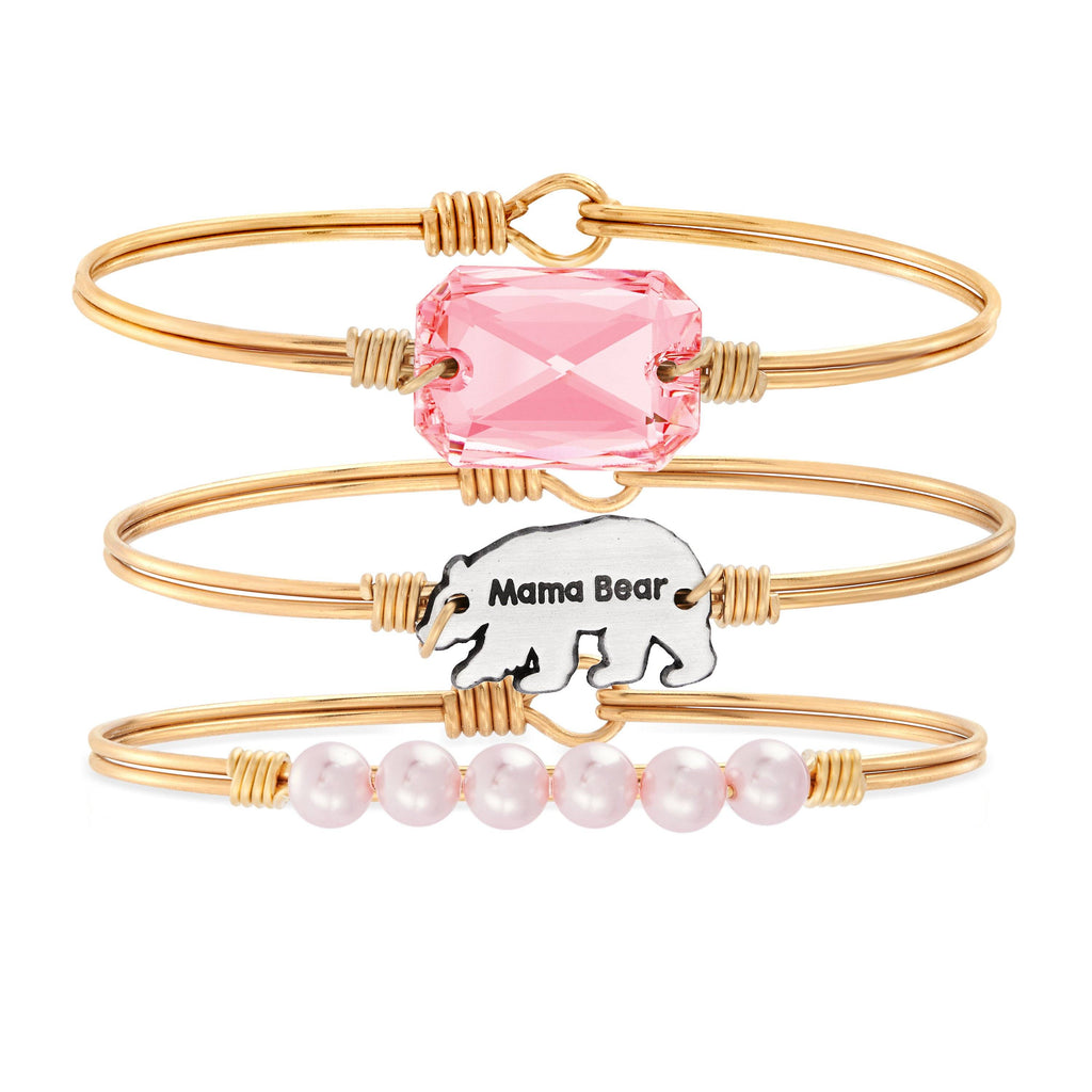 The Mama Bear Stack choose finish:Brass Tone choose crystal color:Vintage Rose