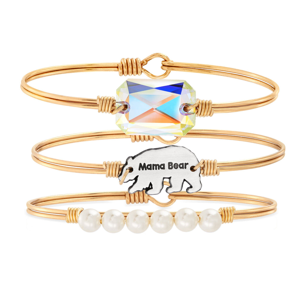 The Mama Bear Stack choose finish:Brass Tone choose crystal color:Aurora Borealis