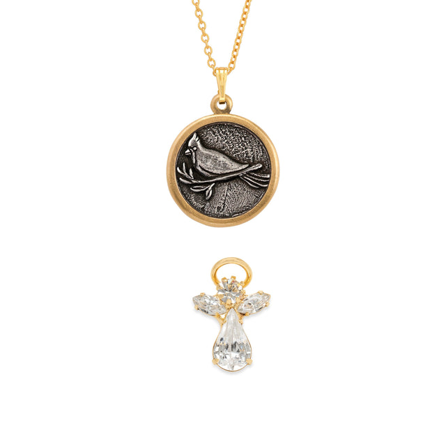 Cardinal Necklace + Crystal Angel Pin Set choose finish:18k Gold Plated