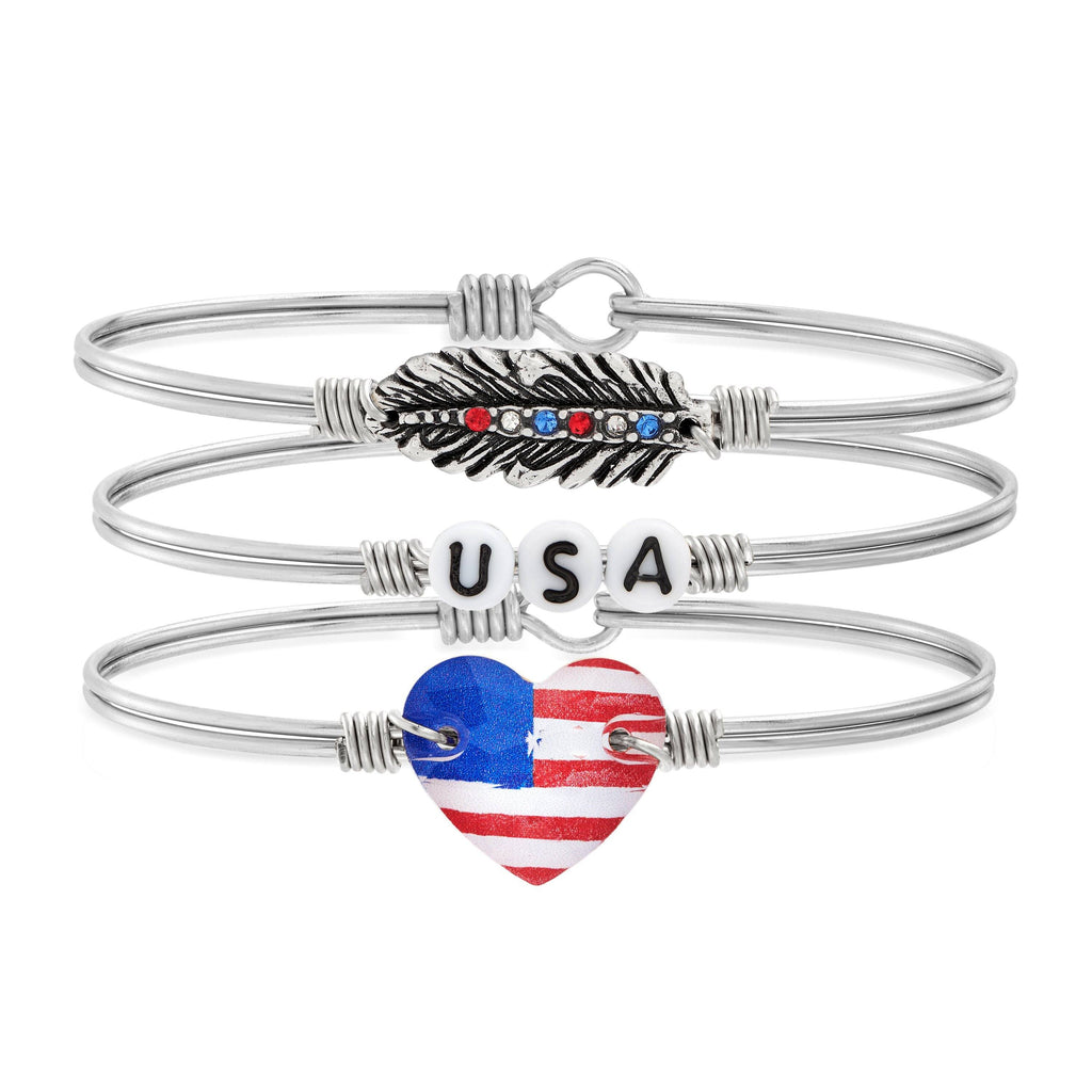 Red, White, and Sparkle Stack choose finish:Silver Tone