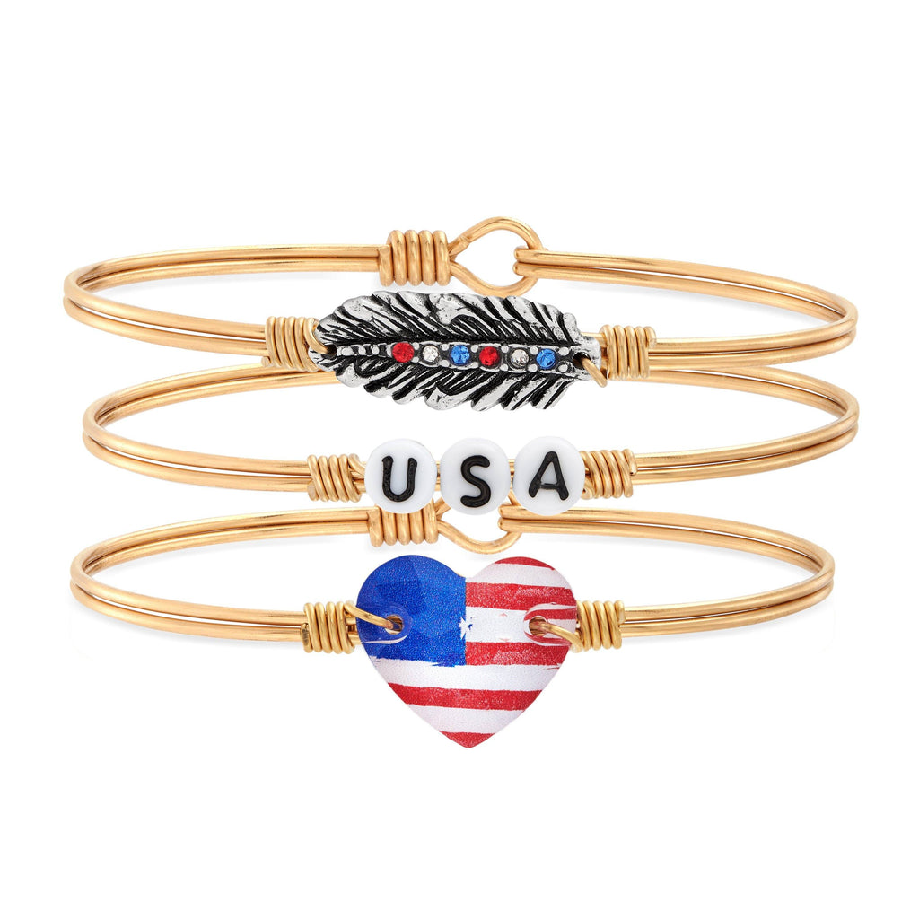 Red, White, and Sparkle Stack choose finish:Brass Tone