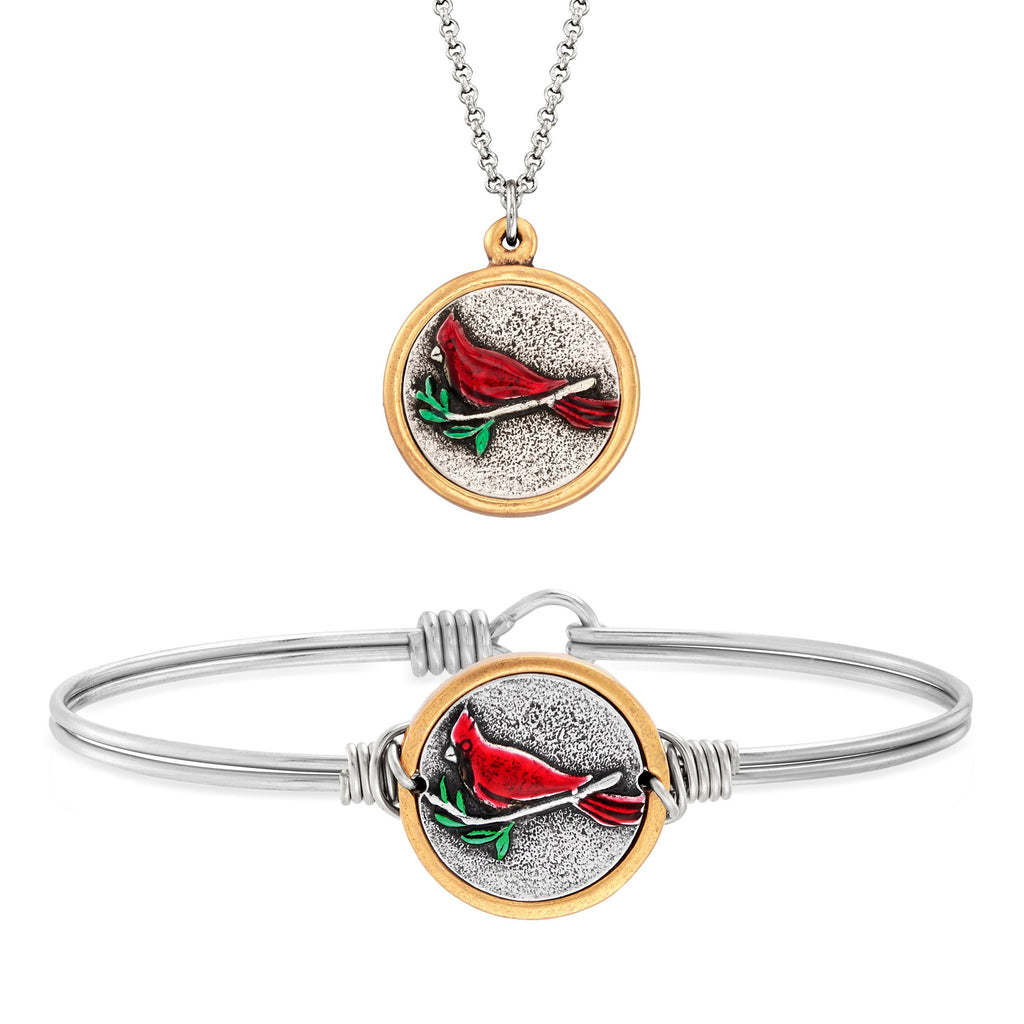 Red Cardinal Bangle + Necklace Set choose finish:silver tone