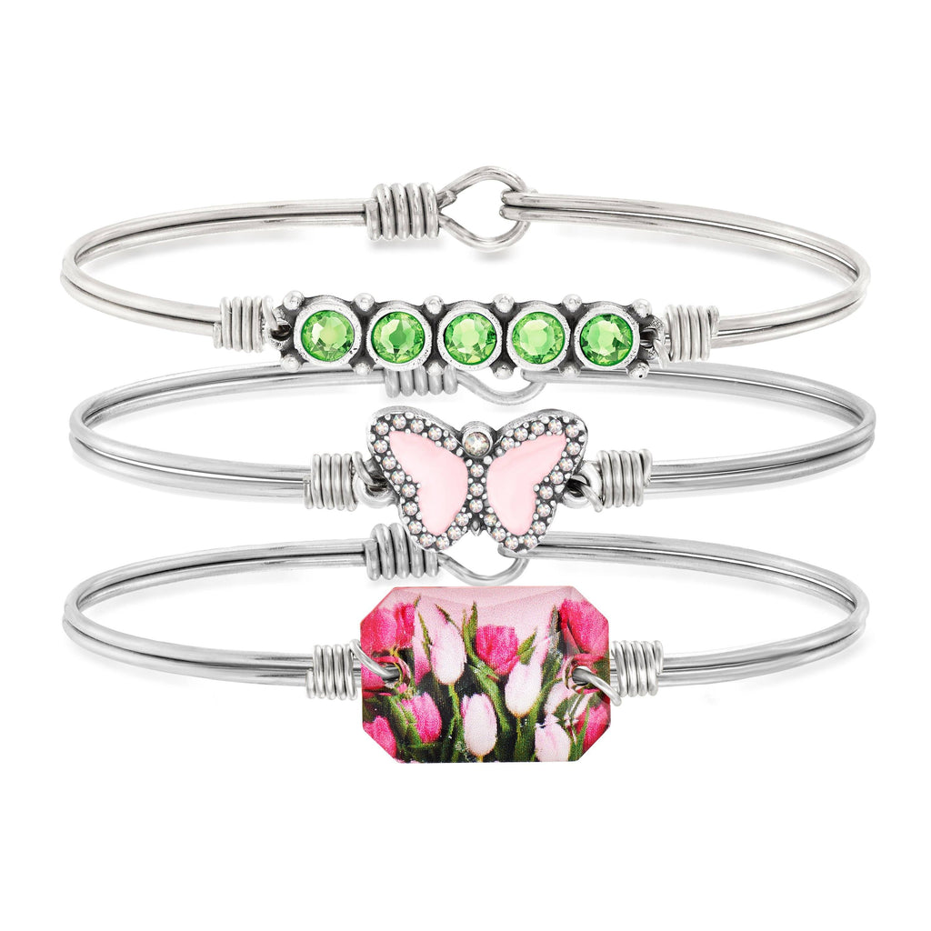 Butterfly Garden Stack choose finish: Silver Tone