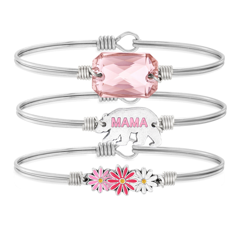 Mama Bear Stack with Daisies in Aurora Borealis in Vintage Rose choose finish: Silver Tone