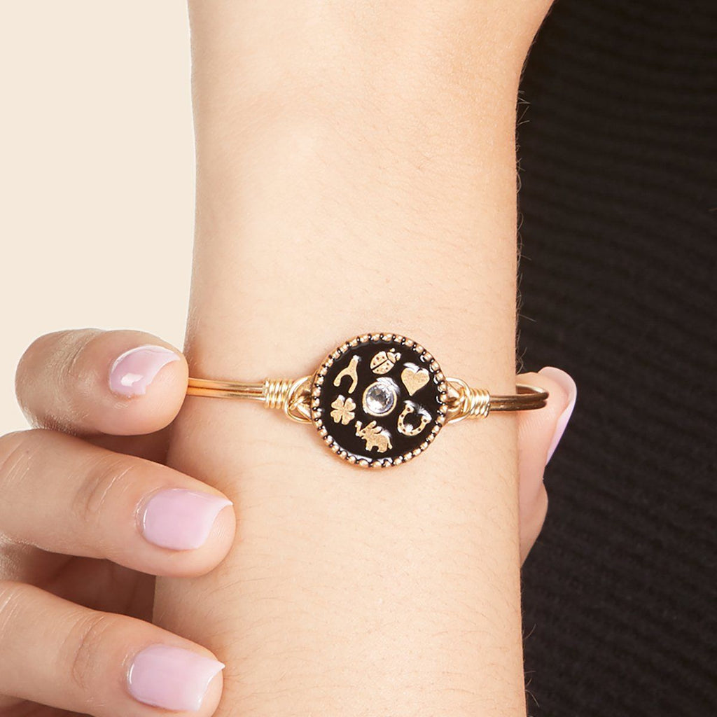 Good Fortune Bangle Bracelet in Black choose finish: