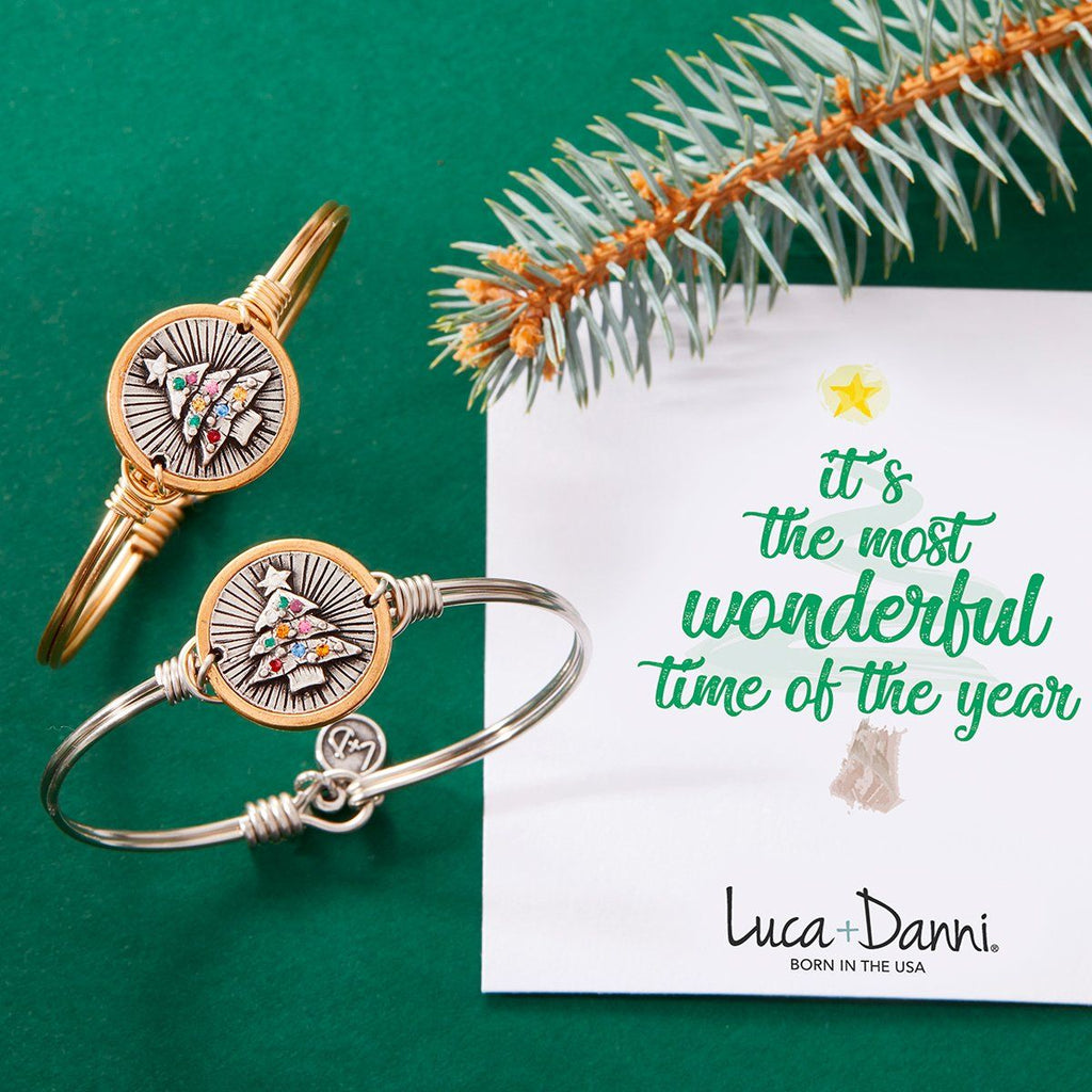 Holiday Tree Bangle Bracelet choose finish: