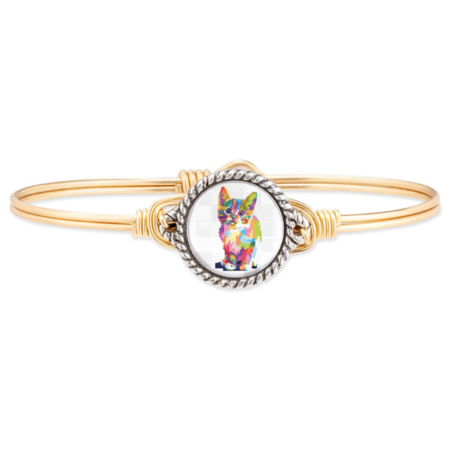 Colorful Cat Bangle Bracelet finish:Brass Tone