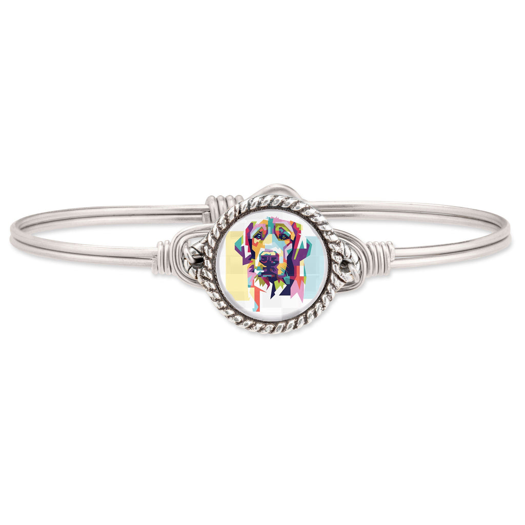 Colorful Lab Bangle Bracelet finish:Silver Tone