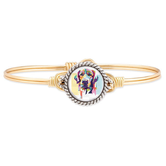 Colorful Lab Bangle Bracelet finish:Brass Tone
