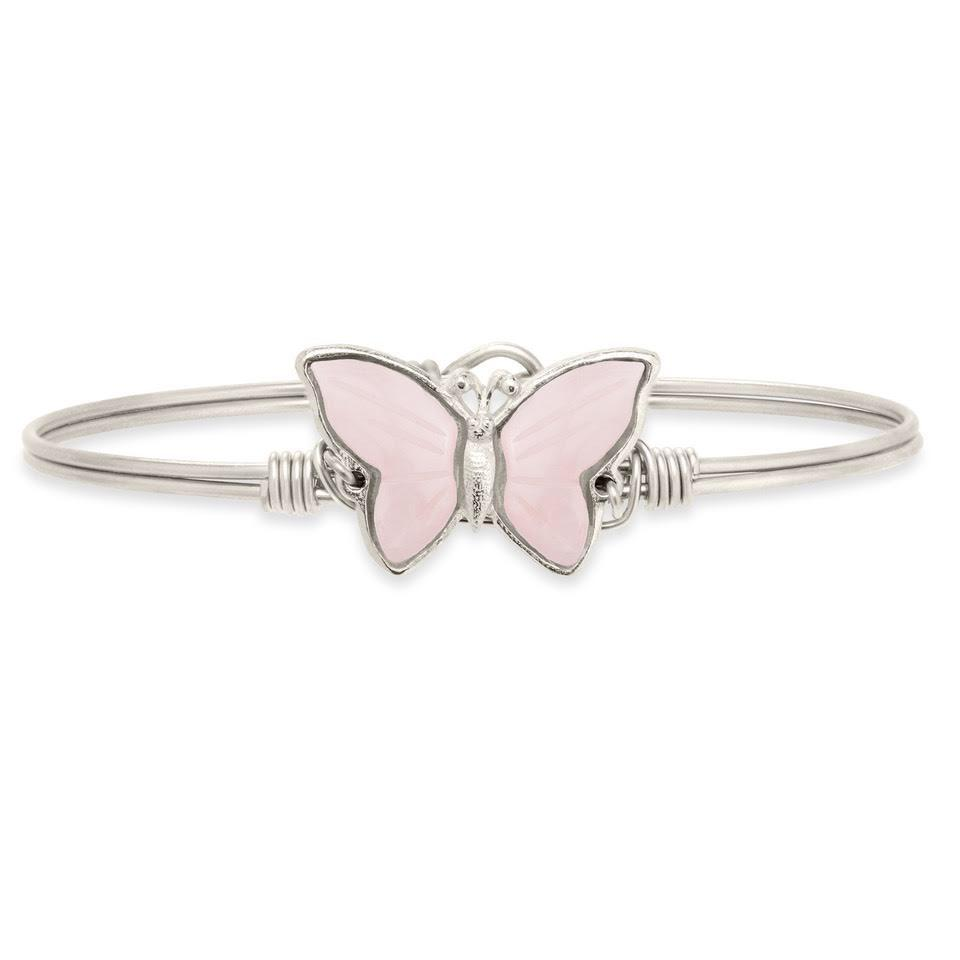 Breast Cancer Awareness Bangle in Hand-Painted Rose Quartz Finish:Silver Tone