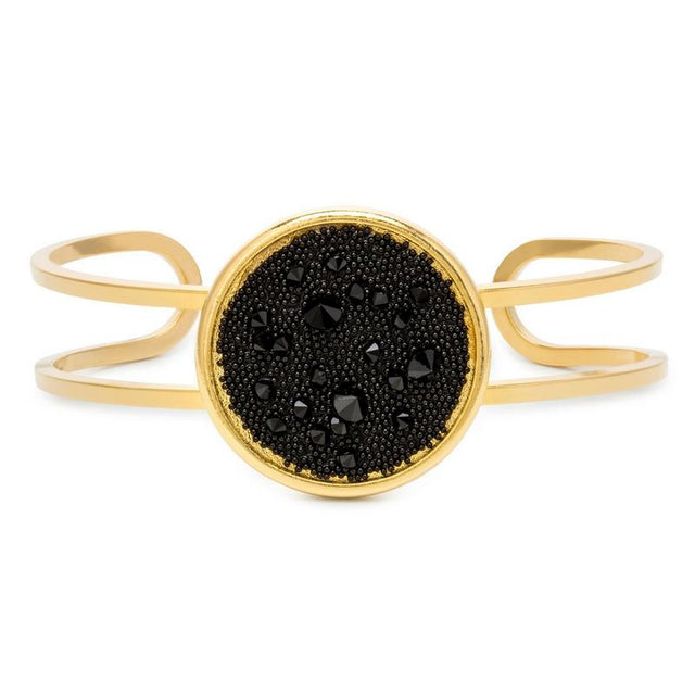 Kelsey Pave Cuff In Jet-Bangle Bracelet-finish:18kt Gold Plated-Luca + Danni