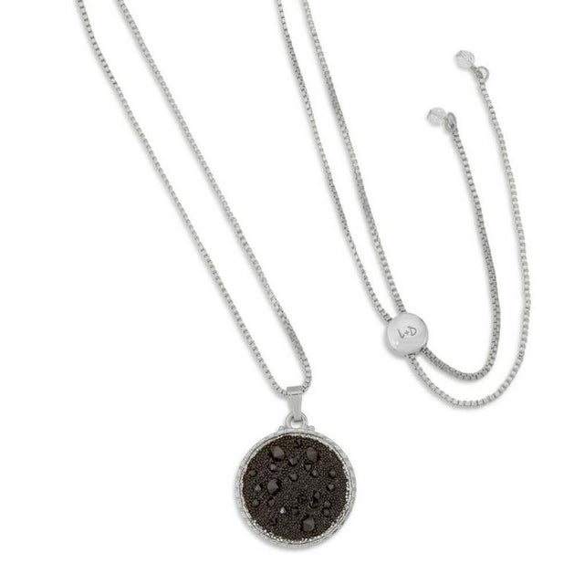 Kelsey Pave Necklace In Jet-necklace-finish:Silver Plated-Luca + Danni