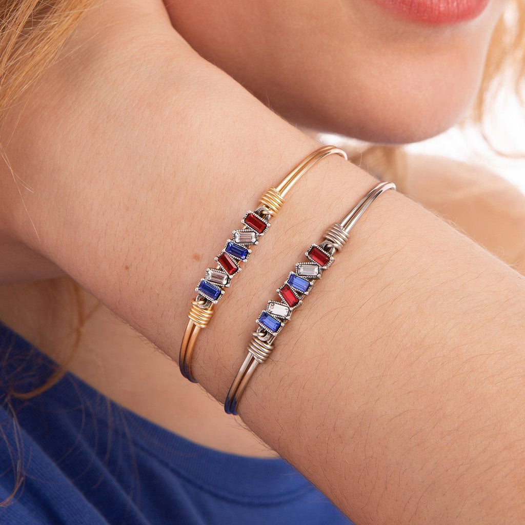 Mini Hudson Bangle Bracelet in Americana Ombre choose finish: