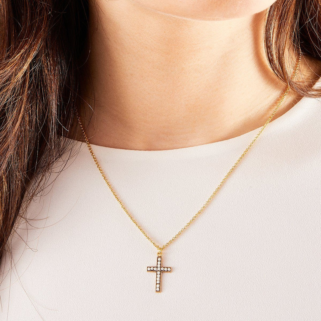 Crystal Pearl Cross Necklace