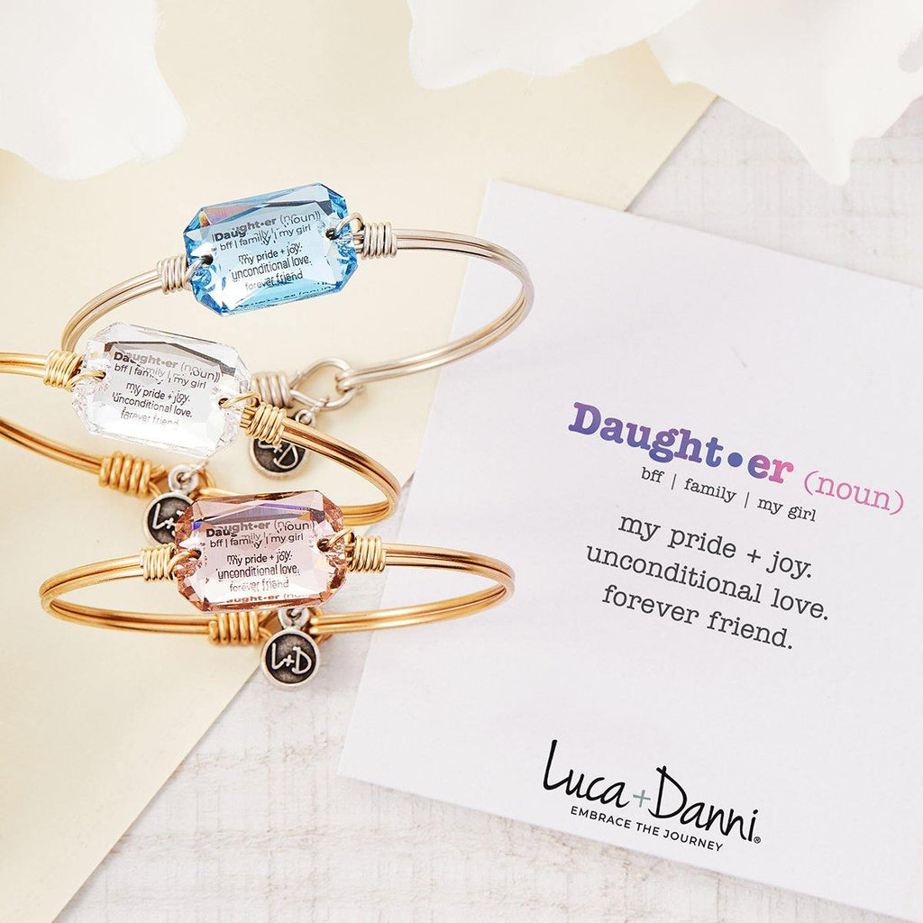 Daughter Definition Bangle Bracelet in Aquamarine