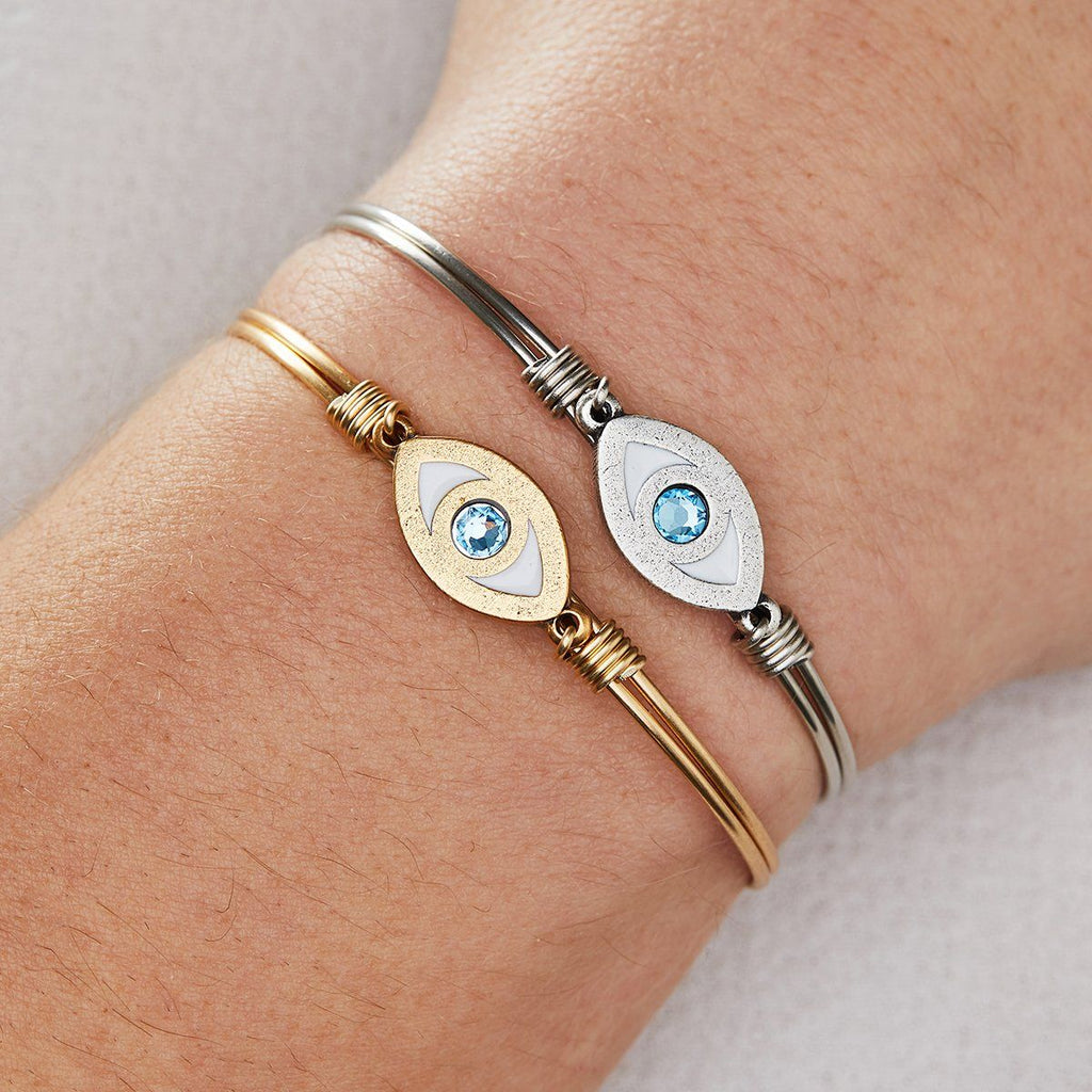 Evil Eye Bangle Bracelet choose finish: