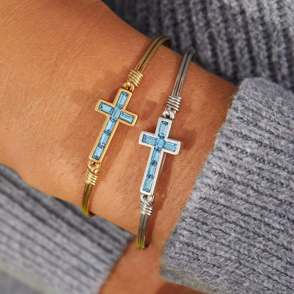 Baguette Cross Bangle Bracelet in Aquamarine