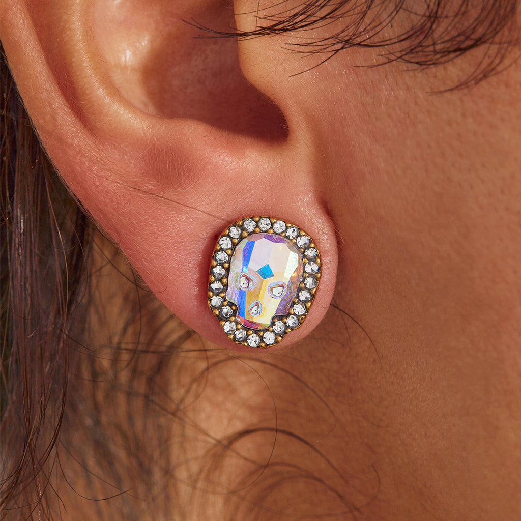 Crystal Pave Skull Stud Earrings in Aurora Borealis